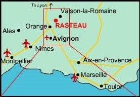 Location of Rasteau in South of France
